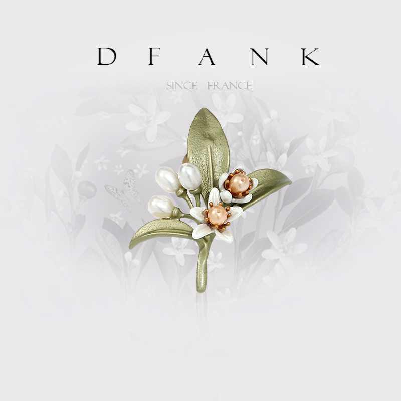 DFANK freshwater pearl orange flower brooch brooch woman high-end temperament simple matching atmospheric pin sweater accessories