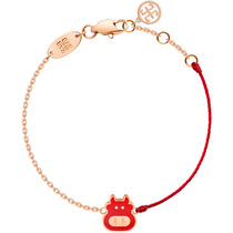 Red rope bracelet female cow year this year weaving red hand rope to recruit money transfer zodiac cattle jewelry plated 18K color gold tide