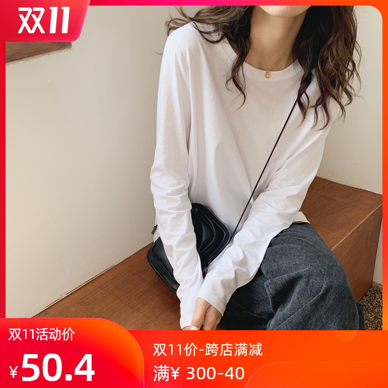 White long-sleeved T-shirt female loose-fitting round collar Korean version of pure cotton jacket plus velvet autumn winter solid color inner jacket