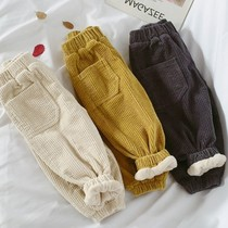 Boys and girls plus velvet pants autumn and winter wear loose velvet childrens pants new small and medium children corduroy one trousers
