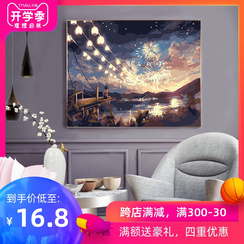 Digital Oil Painting Diy Oil Painting Cartoon Landscape Character Filling Painting Hand-made Digital Painting Filling Decompression Decorative Painting