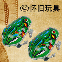 Childrens tin frog wind up toy 80s nostalgia bounce on the chain jump frog on the wind up can jump small animals