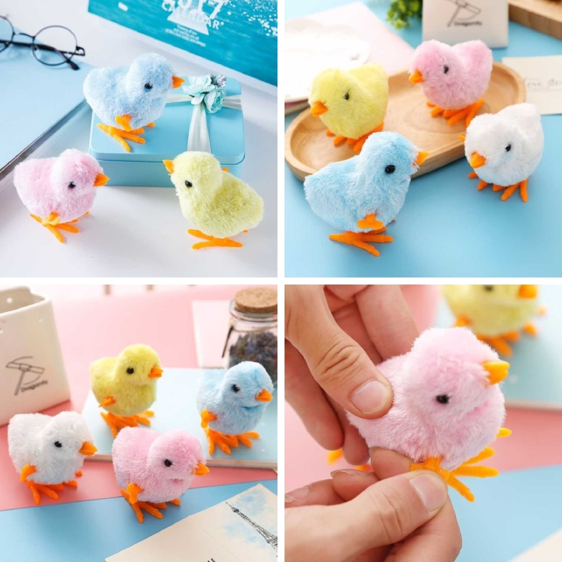 Upper Chain Toy Winding Chicken Plush Rooster Toy Cartoon Winding Rabbit Children's Toy