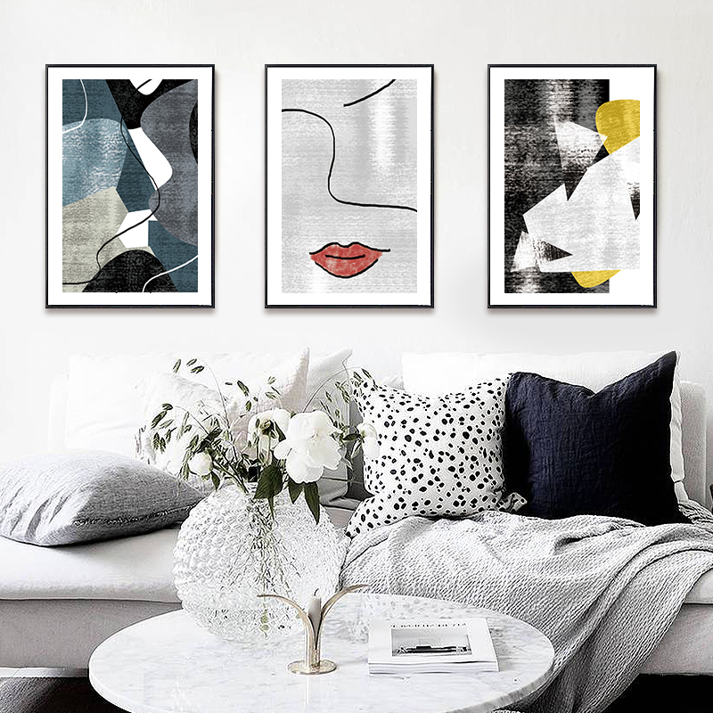Nordic style living room decoration sofa background wall modern simple hanging abstract art mural triple painting