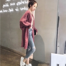 Sweater coat womens cardigan spring and autumn wild 2021 New Korean loose lazy medium and long knitted shirt top