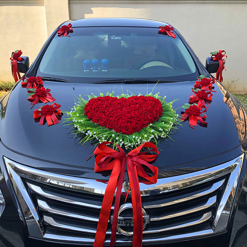 The wedding car decorated the main knot wedding car decorated with a suction cup-style Chinese wind creative suit flower car decoration wedding