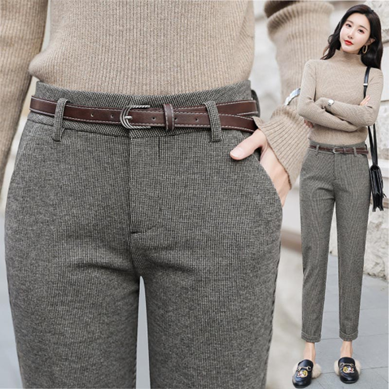 Thousand birds grid pants womens high-waisted trousers plus thick straight pants womens autumn and winter slim professional casual womens pants