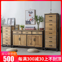 Solid wood Bucket locker living room American retro simple TV cabinet side table drawer cabinet storage cabinet Dining Cabinets