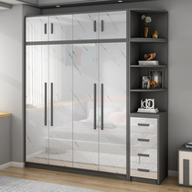 Nordic light luxury wardrobe Bedroom household overall combination cabinet Economical solid wood five or six doors large wardrobe customization
