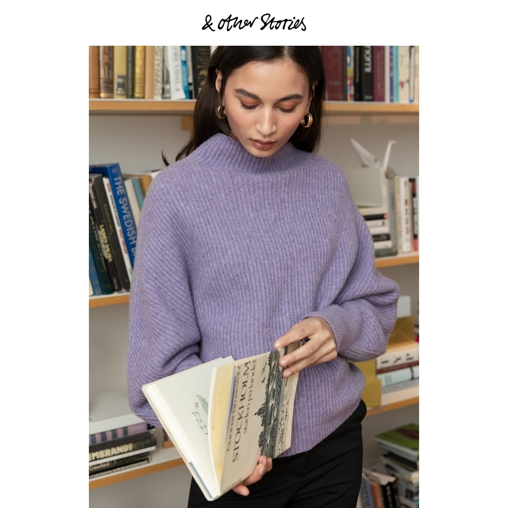 Semi-high-necked bottoms loose bat-sleeve knit sweater for women and Other Stories ST0911972