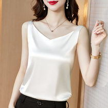 (Mulberry silk)silk camisole womens inner suit White satin base shirt V-neck top small suspender