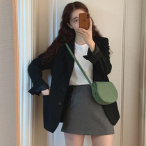 Black High sense small man casual suit jacket 2021 early spring autumn short temperament suit top female New
