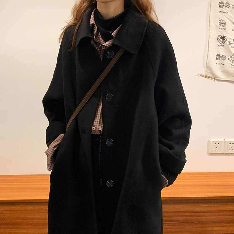 2020 autumn winter black double-sided cashmere coat female medium-length version of loose-fitting son Hepburn temperament hairy new coat