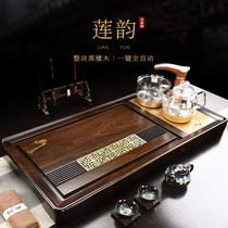 Эбони чай море твердых деревянный чай пластины полный набор сжигания воды автоматический один кунг-фу чайный набор с индукционной плитой дома