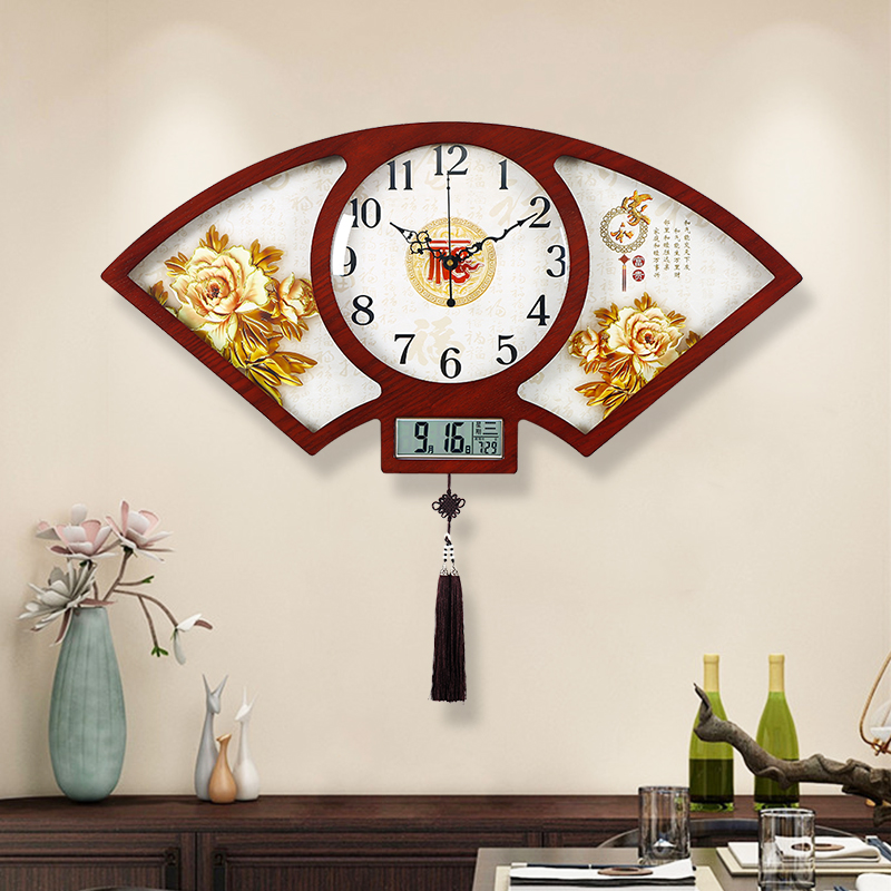 Chinese living room wall clock with calendar creative fashion home decoration Chinese wind clock atmospheric wood silent clock 錶