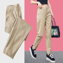 Khaki jeans women 2021 new spring and autumn straight loose slim High Joker casual Harlan daddy pants