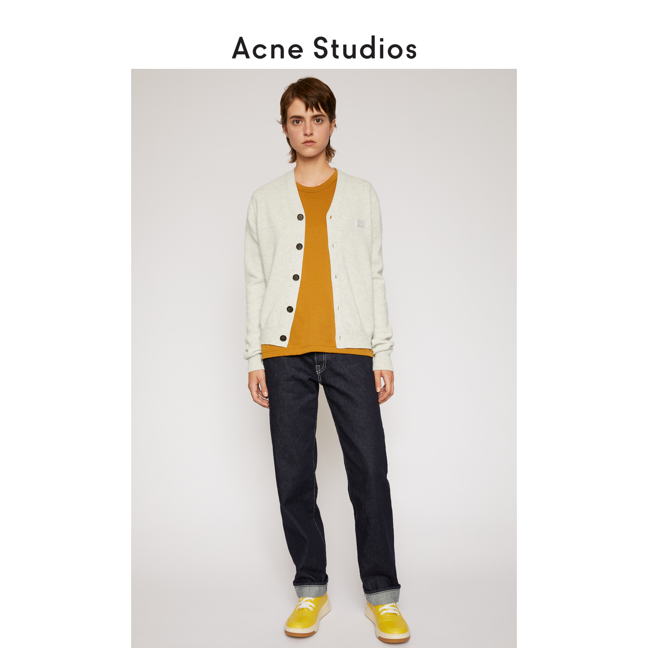 Acne Studios Face Light linen Gray wool cardigan v-neck knitted thin jacket C60015-X92
