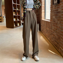 Brown wide leg pants children Spring and Autumn new Joker slim straight casual pants high waist loose suit mop trousers