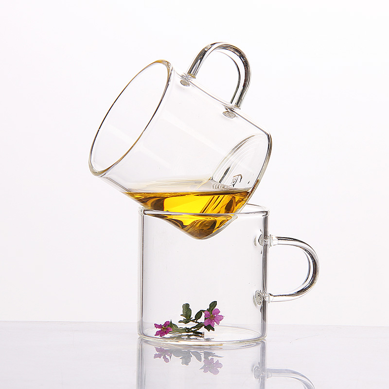 Heat-resistant glass small teacup household kung fu tea set transparent water cup master cup single cup womens belt cup