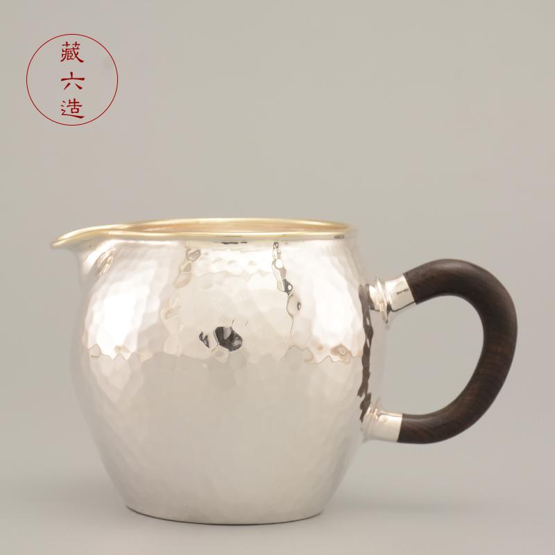 Pure silver fairway cup Tibetan six-made pure silver 999 cent teaware pure handmade silver pot fairway silver tea set accessories