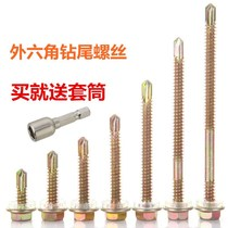 Outer hexagonal drill tail screw color steel tile nail swallow tail screw self-drilled drill tail screw iron steel plate 4.8