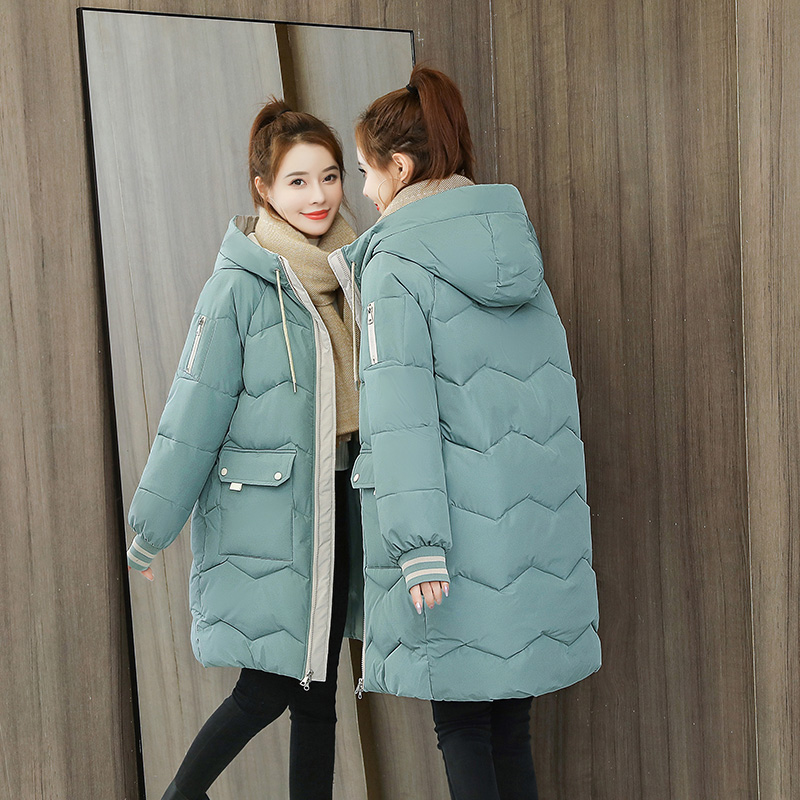 Pregnant women down jacket womens middle and long winter clothing 2020 new Korean version of loose size pregnant women thick cotton clothing later in pregnancy