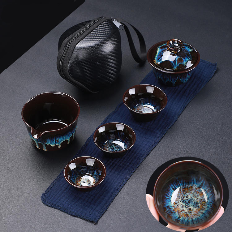 Jiandang kiln into ceramic express cup a pot of three cups of simple portable travel collection package set of kung fu tea set