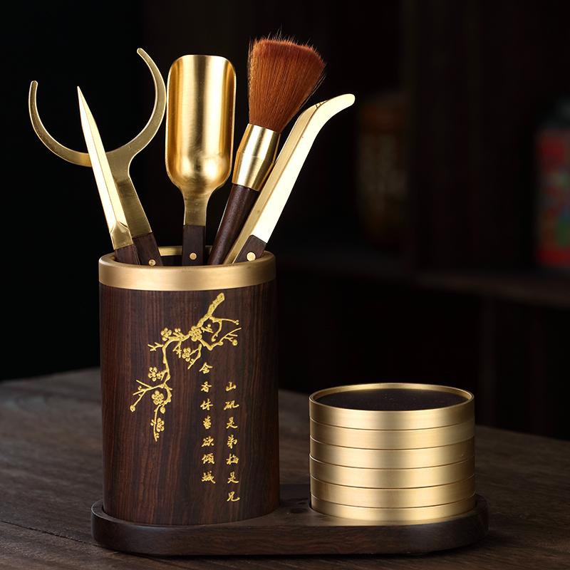 Tea ceremony six gentleman combination solid wood ebony set pure copper kung fu tea set accessories large all tea knife cup mat tea clip