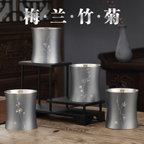 Four-color hall tin can pure tin tea cans home small cans of tea empty cans boutique retro Chinese wind sealed cans travel