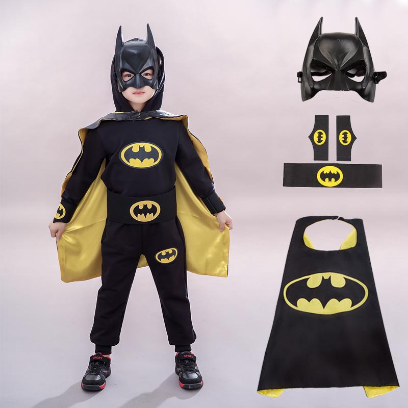Halloween costume childrens makeup ball cosplay Batman cape mask hand belt suit