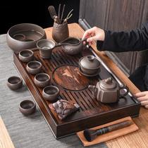 Purple Sand Kung Fu tea set Household living room Walnut color drainage tea tray Tea set Modern simple tea set