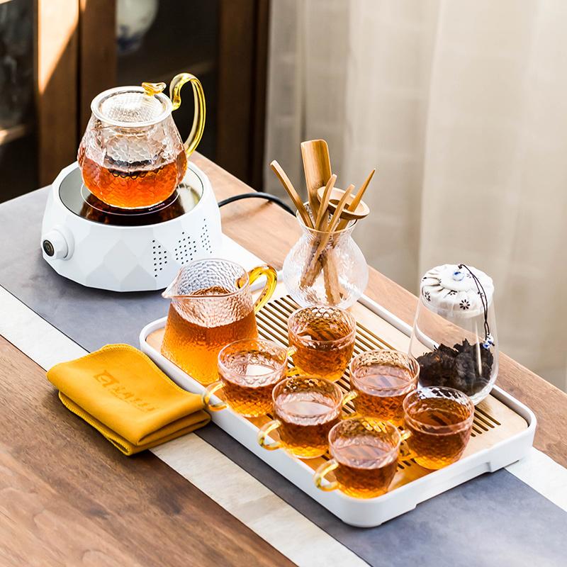 Electric pottery stove glass brewing teapot household tea set small shake sound steaming tea stove flower teapot tea maker