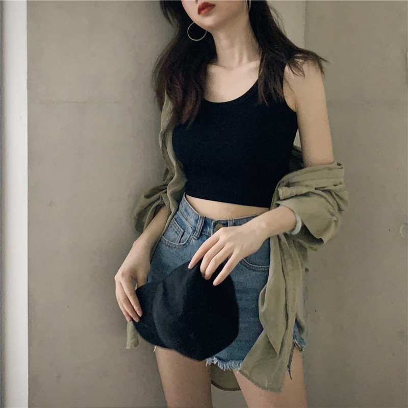 Pure cotton vest female summer with short exposed umbilical cord small sling type inside wearing sleeveless top outside wear ins tide