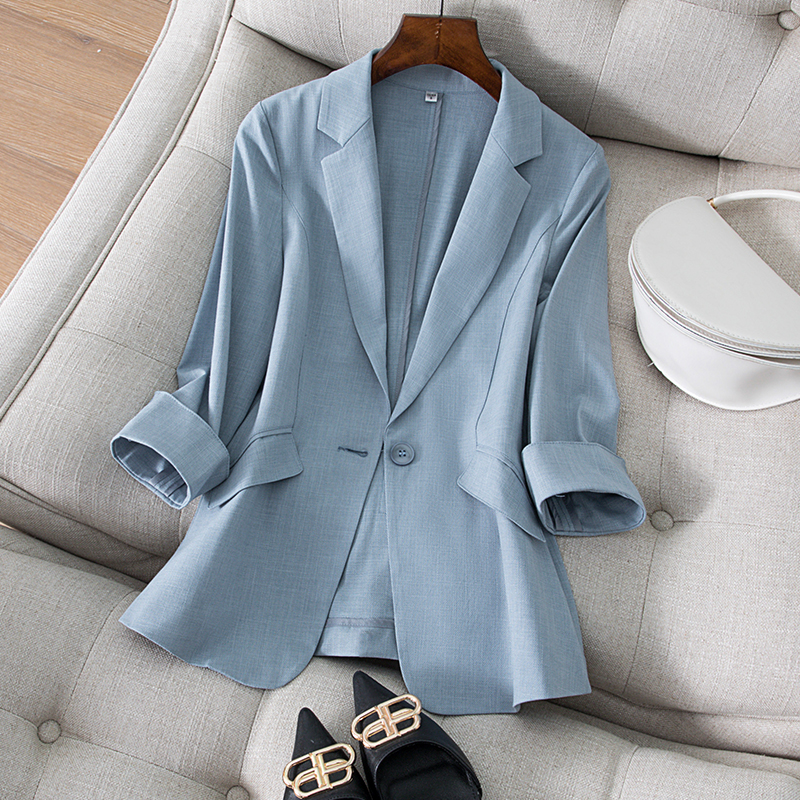 Tencel linen small blazer womens three-point sleeves spring and summer new Korean style temperament slim thin suit womens top
