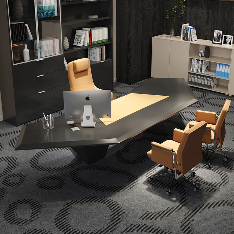 Italian boss desk designer shaped table modern minimalist paint creative president office table and chair combination
