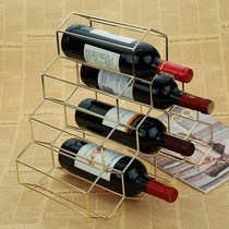 Bedroom practical Xuanguan thick red wine small single gold hexa-shaped wine rack piece creative modern simplicity