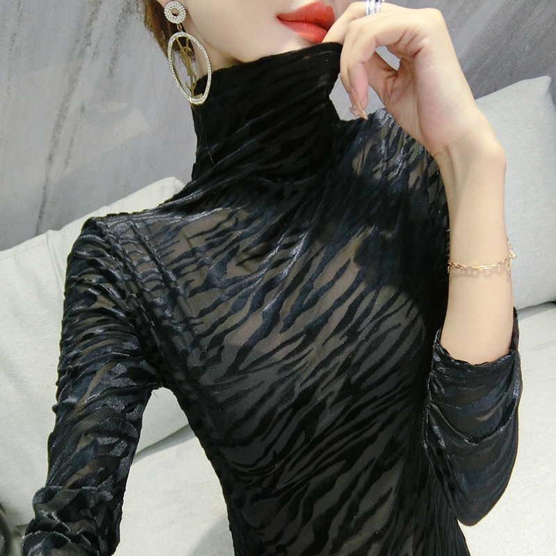 High-end lace top autumn winter 2020 new high-necked sweater velvet tight-fitting European station bottoms