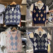 brandymelville new original single bm American college style diamond lattice inside vest vest