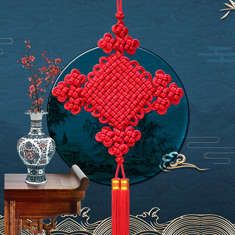 TianJi Chinese knot hanging piece large Xuanguan living room background wall double line 1 group jin as happy to tie the New Year decoration