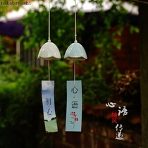 Japanese-style home and wind chime orchid ceramic windbell hanging courtyard decoration handmade creative stalls