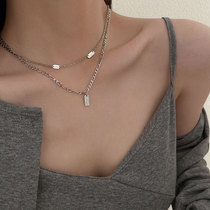 Sterling silver double-layer necklace female ins cool wind 2021 new style does not fade design sense light luxury niche collarbone chain