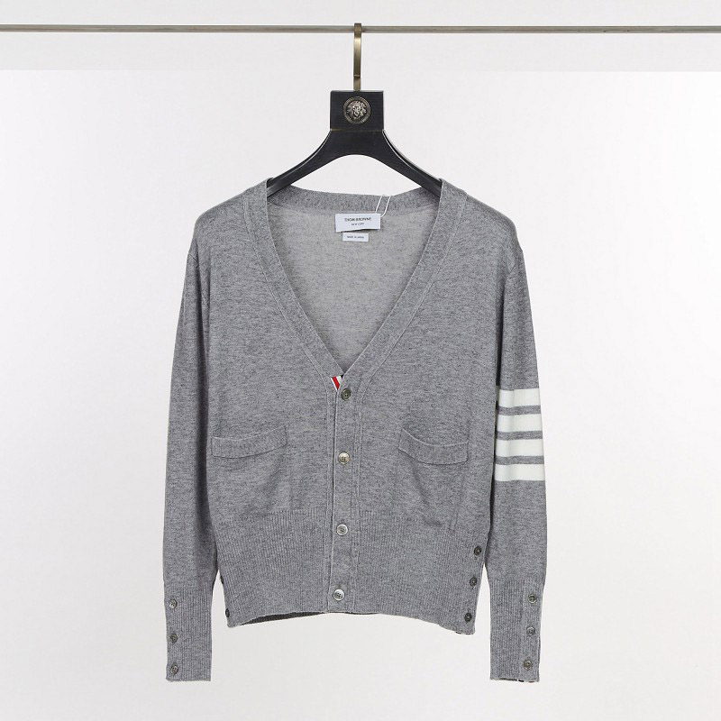 Thom Browne Tom Brown TB Classic Slim Cardigan Sweater Couple V-Neck Knitwear Jacket