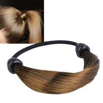 Women Straight Braid Wig Elastic Hair Band Rope Scrunchie Po