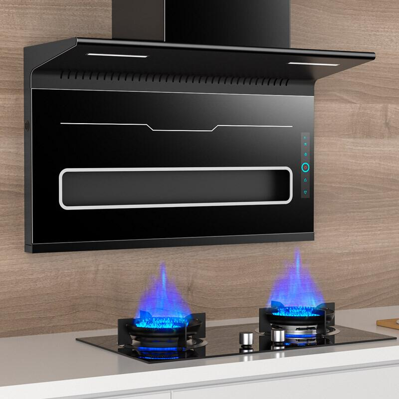 Good wife range hood home kitchen large suction range hood top side double suction range hood gas stove package