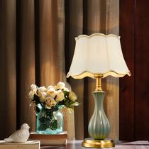 Полная медь американская настольная лампа спальня гостиная дом современный простой европейский керамический романтический свадебный номер украшения прикроватные светильники