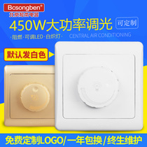 Adjustable light LED incandescent lamp dimming switch panel 86 type stepless knob 450W light brightness adjustment switch