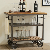 American Retro Iron solid wood dining car wine cart mobile three-storey trolley hotel home dining side locker rack