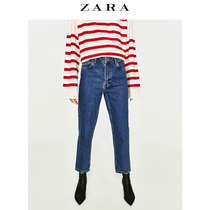 ZARA TRF women wear loose and comfortable old effect-high waist jeans 08197032400