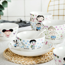 Parent-child tableware creative cute cartoon square bowl a family of four family set of children with ceramic single rice bowls