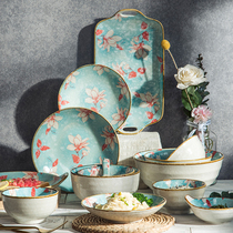 Jingdezhen dishes set home Nordic ceramic rice bowls chopsticks plate plate high-end net red Japanese-style tableware